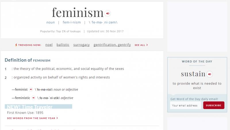 從「女人進軍」遊行到「我也是」浪潮 韋氏字典2017年度風雲字:女性主義