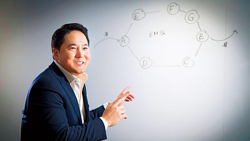 劉御國用科技簡滑滑手機,就能跨國匯款!劉御國用科技簡化匯款程序,他在白板上畫跨國合作模式,要建立以亞洲為中心的匯款網絡。化匯款程序,他在白板上畫跨國合作模式,要建立以亞洲為中心的匯款網絡。