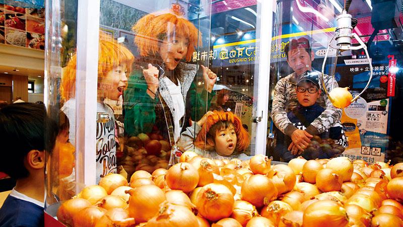 日本娃娃機結合各地農產品十分普遍,其中以關西淡路島的洋蔥機最廣為人知。