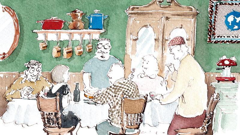 王傑揮筆畫下自家宴客情景,餐桌上的每一道菜,都可聊上一段王傑自身的人生故事。