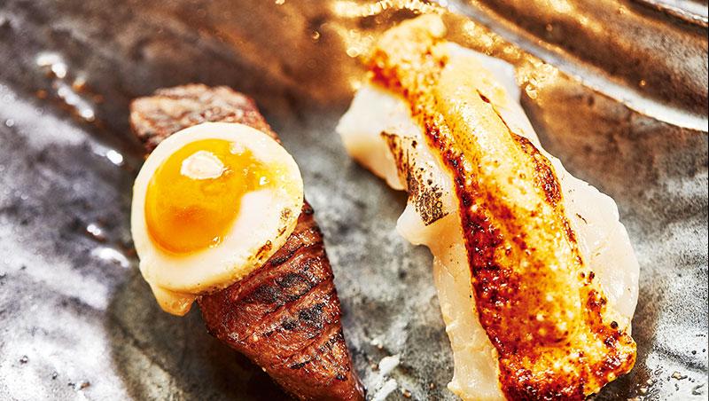 時令手握壽司則屬「和牛壽司」最為驚豔。柑橘醬油打進鵪鶉蛋,一入口,清新的柑橘醬油與蛋黃,瞬間化開。