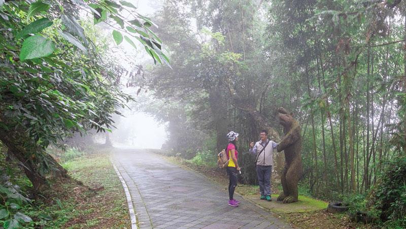 二本松步道入口豎立台灣黑熊的雕像。詹榮富說,頭目總是交代族人,到老松山打獵要小心黑熊,不能爬樹裝死,最好往下坡跑。