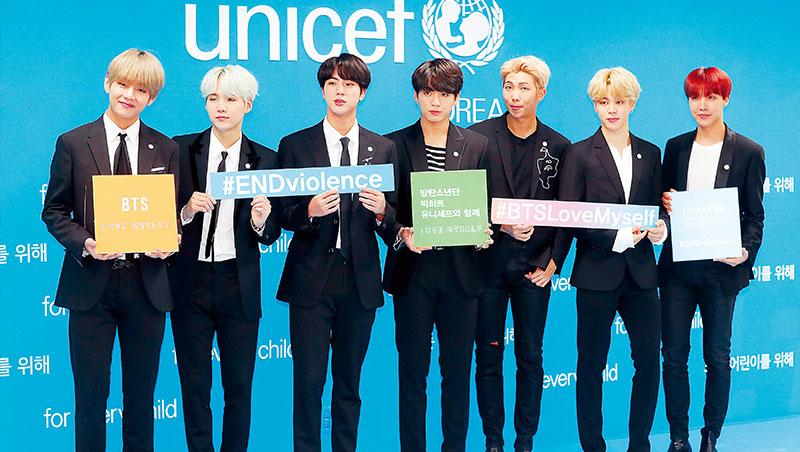 防彈少年團團名為「為年輕人阻擋社會的偏見與壓迫」之意,他們亦參與聯合國兒童基金會活動,為青年世代發聲。