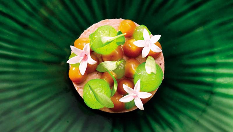 巧妙運用色彩的搭配,做出的「堅果鴨肝、花生果醬、牛奶麵包」,絕對滿足茹素者的視覺感受。