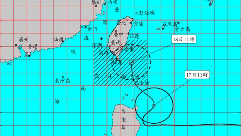 丹娜絲颱風已發布陸警 明晨暴風圈觸陸